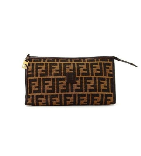 67c7c04b59b Fendi Vintage Toiletry Travel Brown Zucca Monogram Canvas Leather ...