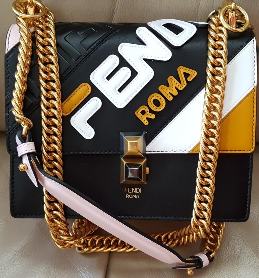 f6b6a1fdf Fendi Kan I Mania Logo Embossed Small Black/ Pink Leather Shoulder Bag -  Tradesy