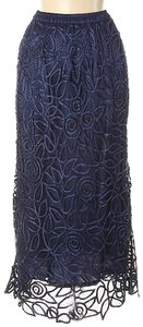 Soulmates Crochet Beaded Silk Lace Maxi Skirt Navy Blue