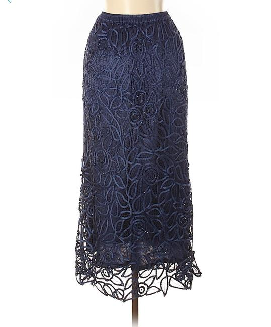 Soulmates Crochet Beaded Silk Lace Maxi Skirt Navy Blue Image 1