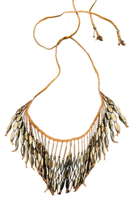 Item - Tan and Silver Metal Textile Fringe Necklace