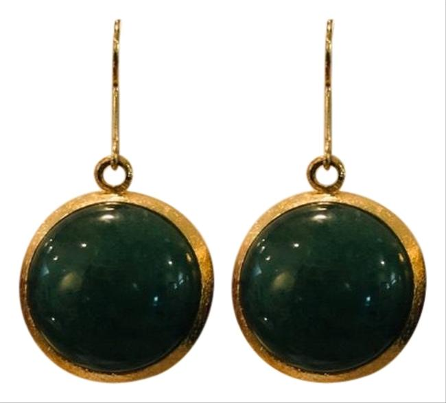 Item - Green and Gold Jade Colored Stone Toned Earrings