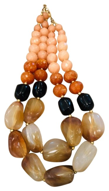 Item - Light Taupey-pink Cinnamon Black and Opaque Grey Resin Bead Necklace