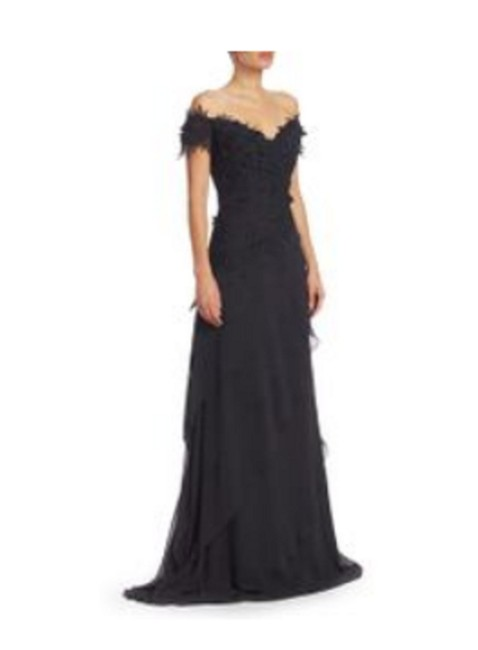 Item - Black Beaded Lace Gown Long Formal Dress Size 10 (M)