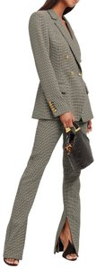 A.L.C. Houndstooth Plaid Chic Bootcut Trouser Pants Gold
