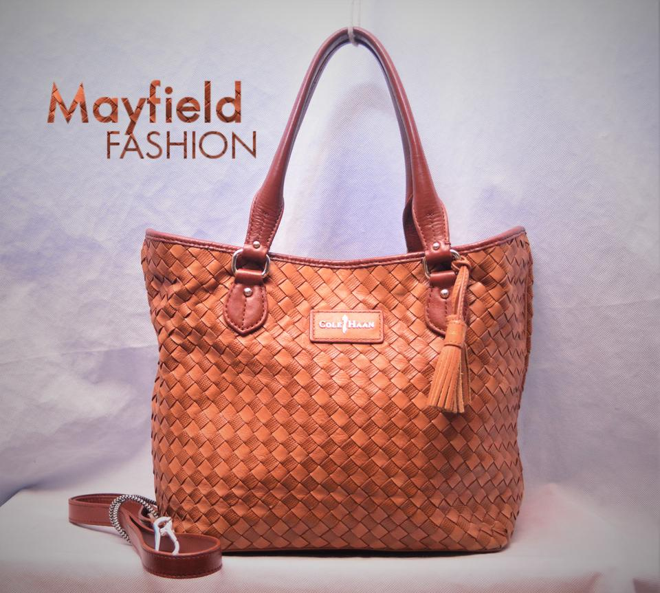 782100e56e Cole Haan Heritage Weave Open Chic Hobo Bucket Tote in English Tan and  Camel Image 0 ...
