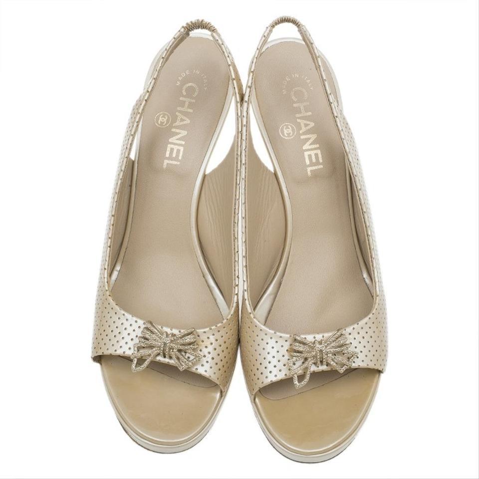 4356c0502d63 Chanel Beige Perforated Leather Butterfly Embellished Slingback ...