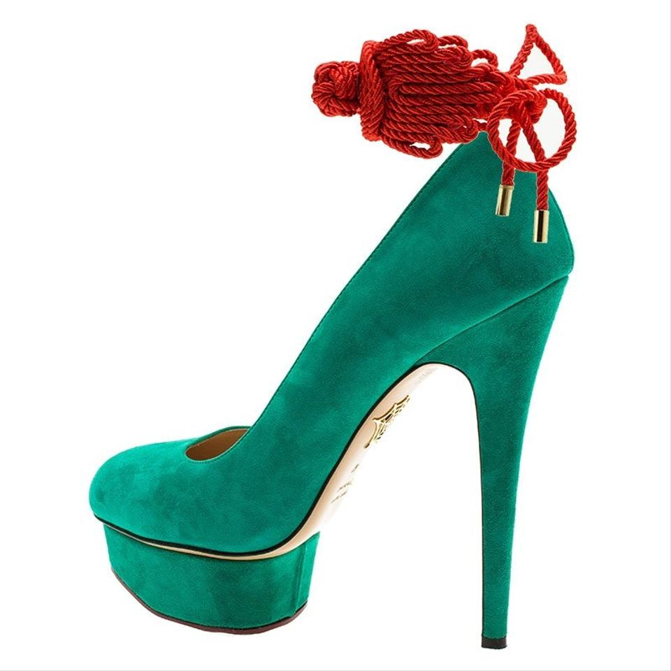 015a0392203 Charlotte Olympia Green Suede Dolly Platform Pumps Size EU 40 ...