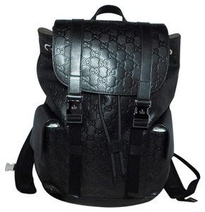 0e153a26b69 Gucci Signature Carry On Luggage Black Leather Backpack - Tradesy