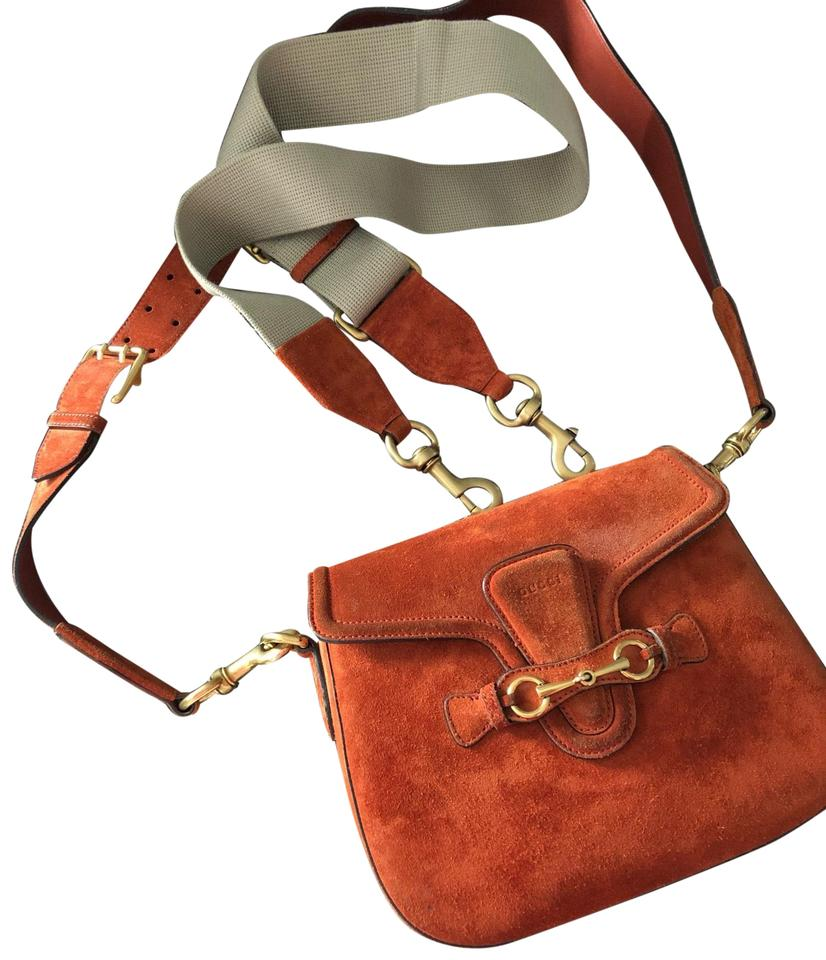 200d10f63dff Gucci Shoulder Lady Web Suede Medium Orange Cross Body Bag - Tradesy