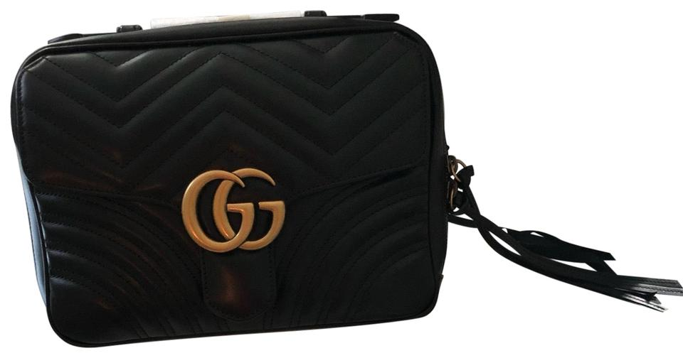 d4b8fdfeb219 Gucci Marmont Small Gg 2.0 Matelassé Leather Camera with Webbed Strap Black  Cross Body Bag