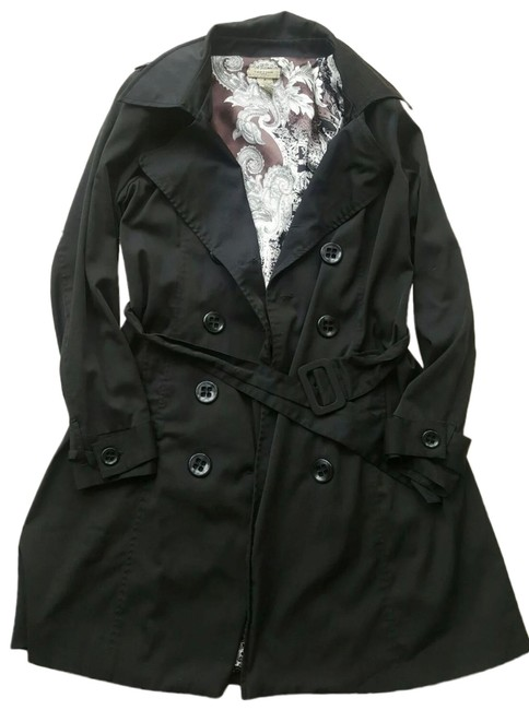 Item - Black Double Breasted Belted Trench Jacket Size 8 (M)
