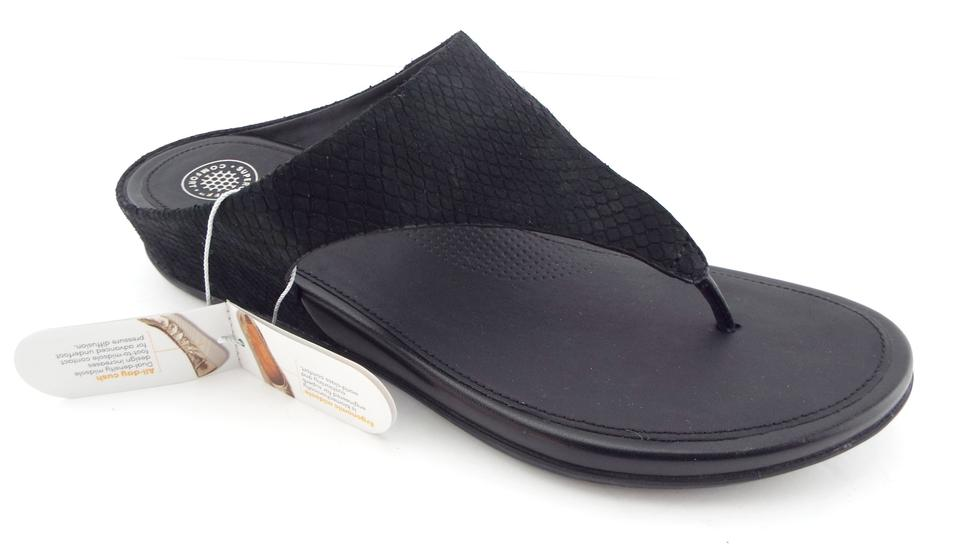 12fb9aacb FitFlop Black Snake Print Leather Thong Sandals Size US 9 Regular (M ...