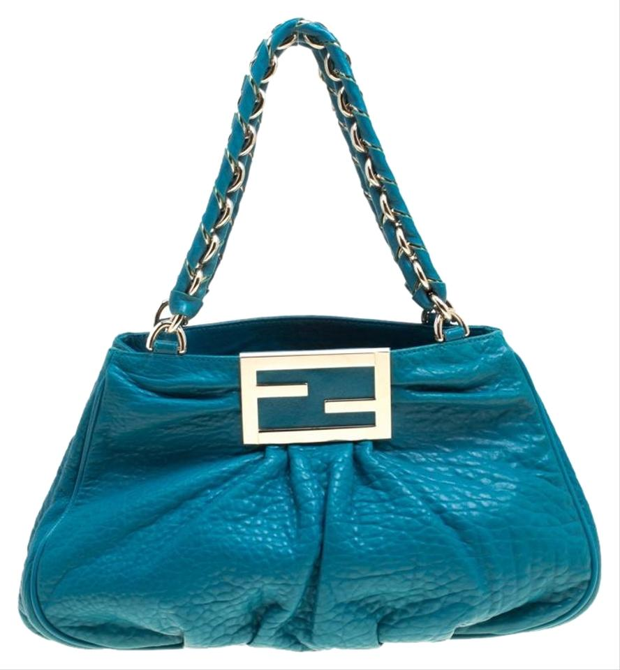 82a5768dded4 Fendi Turquoise Grained Small Mia Tote Blue Leather Shoulder Bag ...