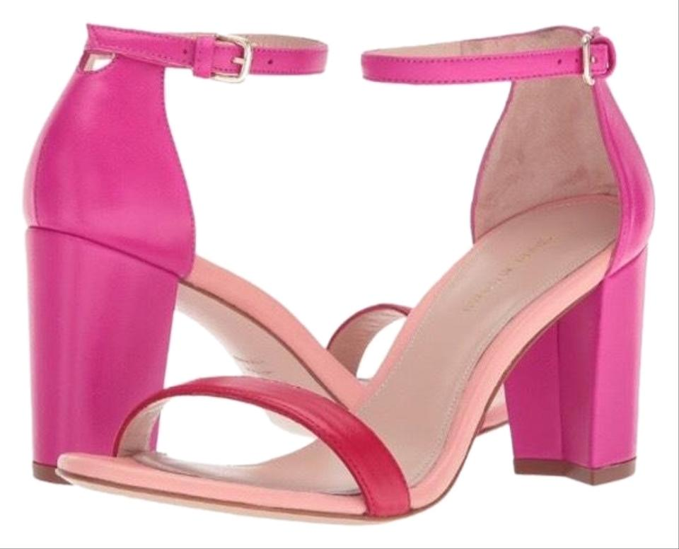882453d6e7 Stuart Weitzman Red/Fuchsia Napa Leather Nearlynude Sandals Size US ...