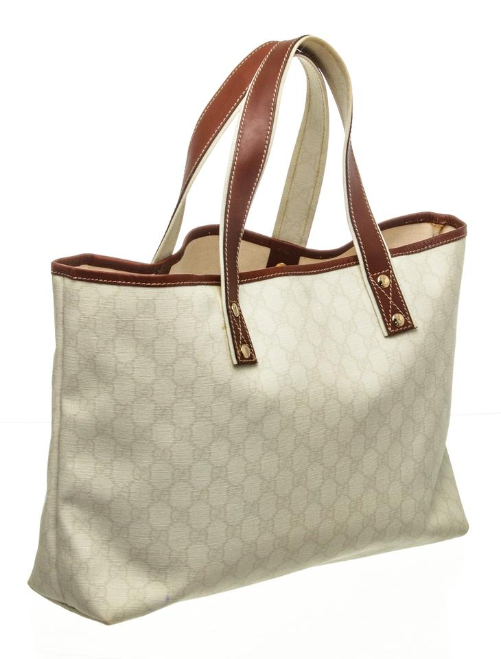 504d3d0f0042ad Gucci Gg Supreme Handbag Cream Coated Canvas and Leather Tote - Tradesy