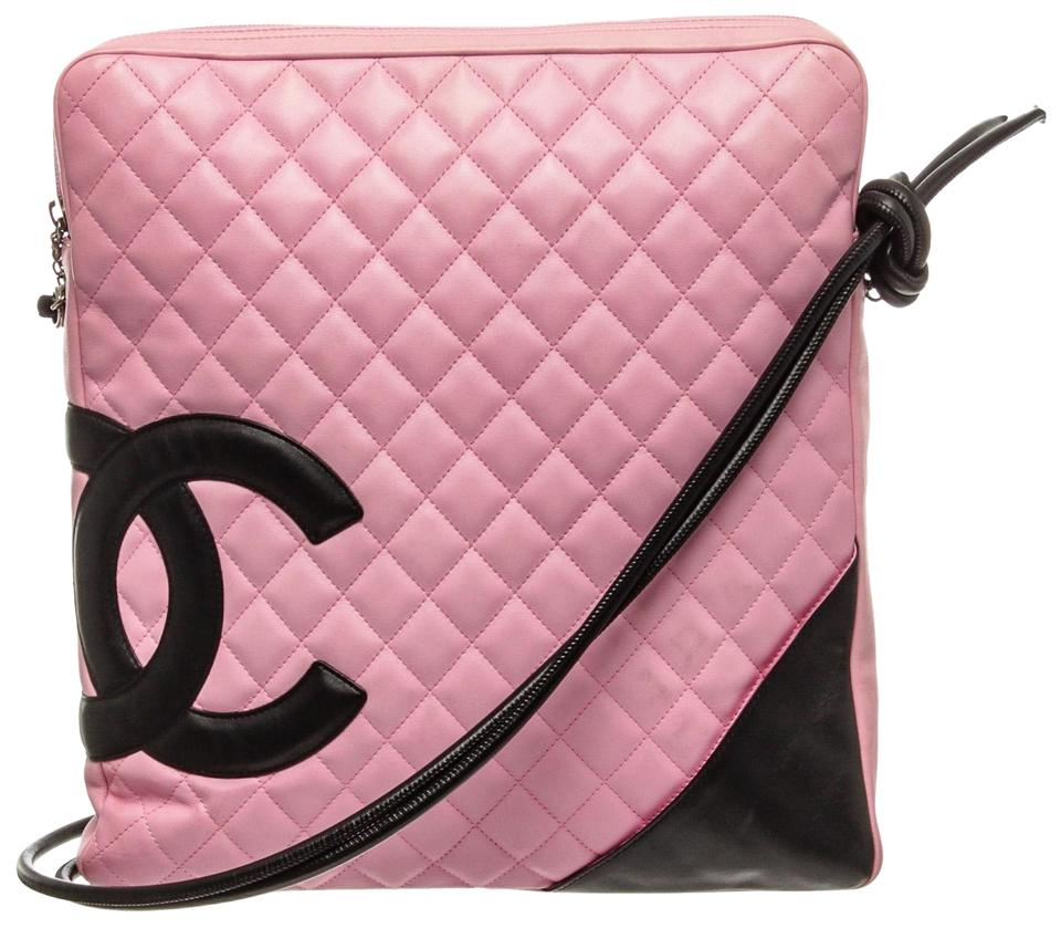 5e19c664e43531 Chanel Cambon Quilted Ligne Large Pink and Black Calfskin Leather ...