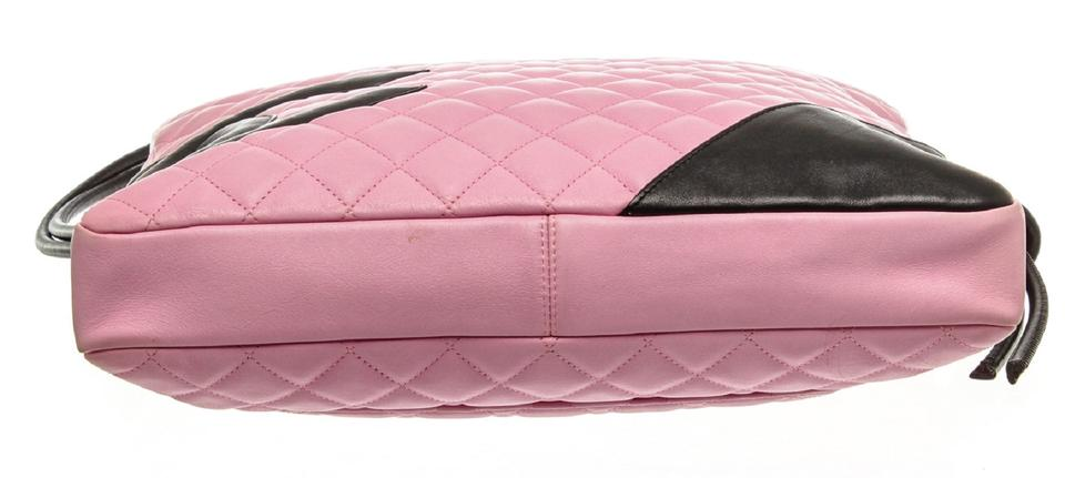 5b8eb3cce26b Chanel Cambon Quilted Ligne Large Pink and Black Calfskin Leather Messenger  Bag - Tradesy