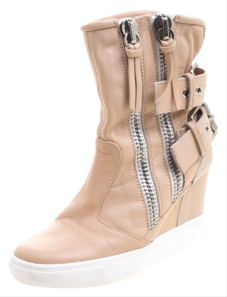 d82841afe01bd Giuseppe Zanotti Beige Leather Buckled Double Zip Accent Wedge ...