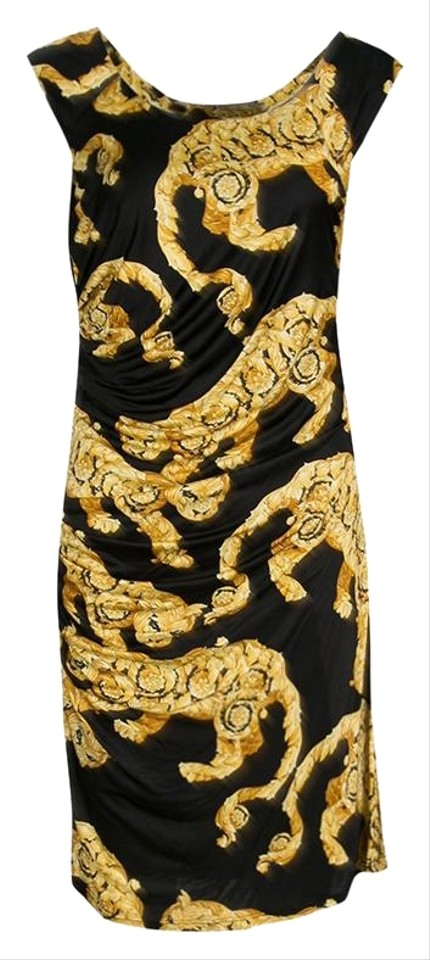 09ee861e579aa Versace Beige Collection Black and Gold Cat Print Sleeveless Draped Night  Out Dress