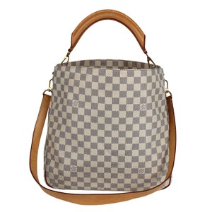 3d0f13e30d14 Louis Vuitton Soffi Hobo 7288 White Damier Azur Canvas Shoulder Bag