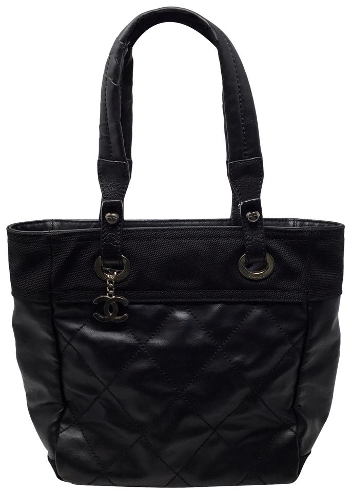 472022c3684d Chanel Biarritz Paris-biarritz Small Black Coated Canvas Tote - Tradesy
