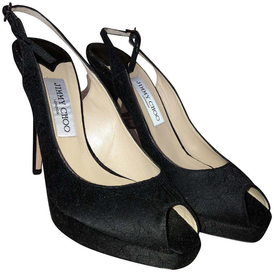 37b83e39c43 Jimmy Choo Black Lace Satin 101clue Pumps Size EU 39 (Approx. US 9 ...
