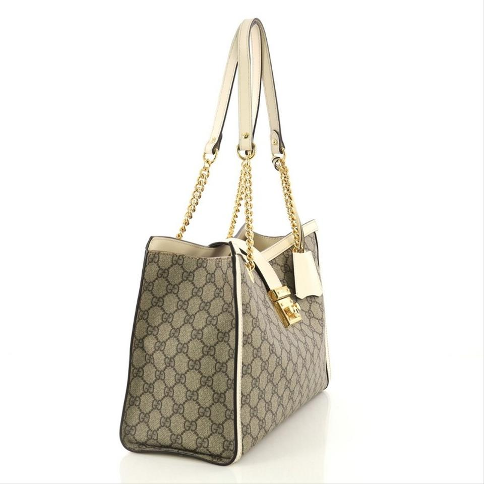 fb53b7f7c03 Gucci Padlock Chain Tote Gg Medium Beige Coated Canvas Shoulder Bag -  Tradesy