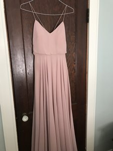 Jenny Yoo Whipped Apricot Chiffon Inesse V-neck Spaghetti Strap Gown (Item #5094399) Formal Bridesmaid/Mob Dress Size 4 (S)