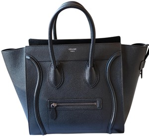 Céline Calfskin Leather Silver Hardware Everyday Travel Tote in Black
