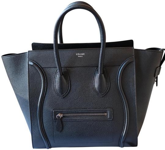 Céline Calfskin Leather Silver Hardware Everyday Travel Tote in Black Image 0