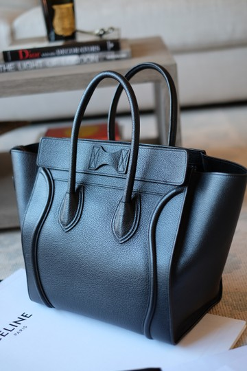 Céline Calfskin Leather Silver Hardware Everyday Travel Tote in Black Image 1