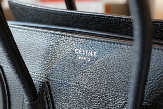 Céline Calfskin Leather Silver Hardware Everyday Travel Tote in Black Image 3