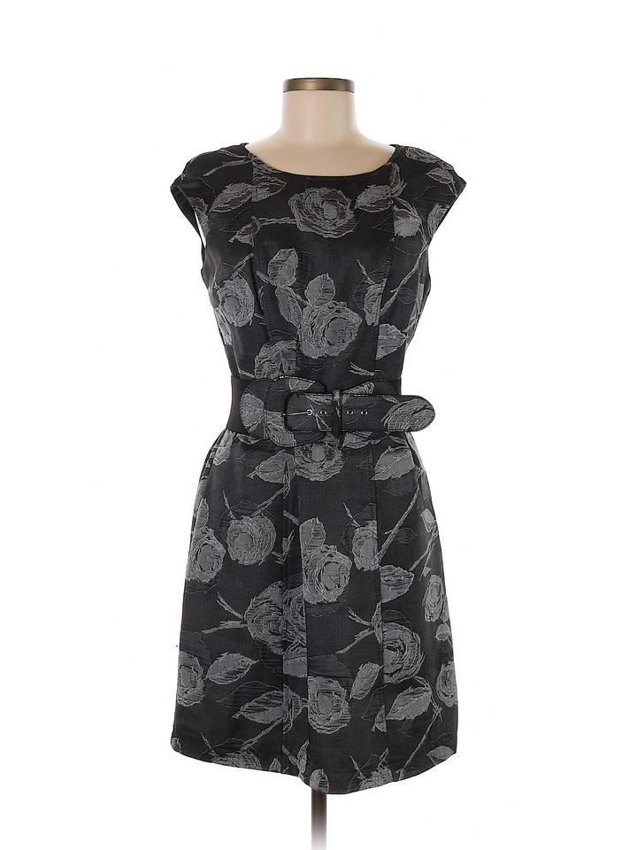8616c86e9f Robbie Bee Gray Signature By Floral Tapestry Pleated Belted Sheath Night  Out Dress