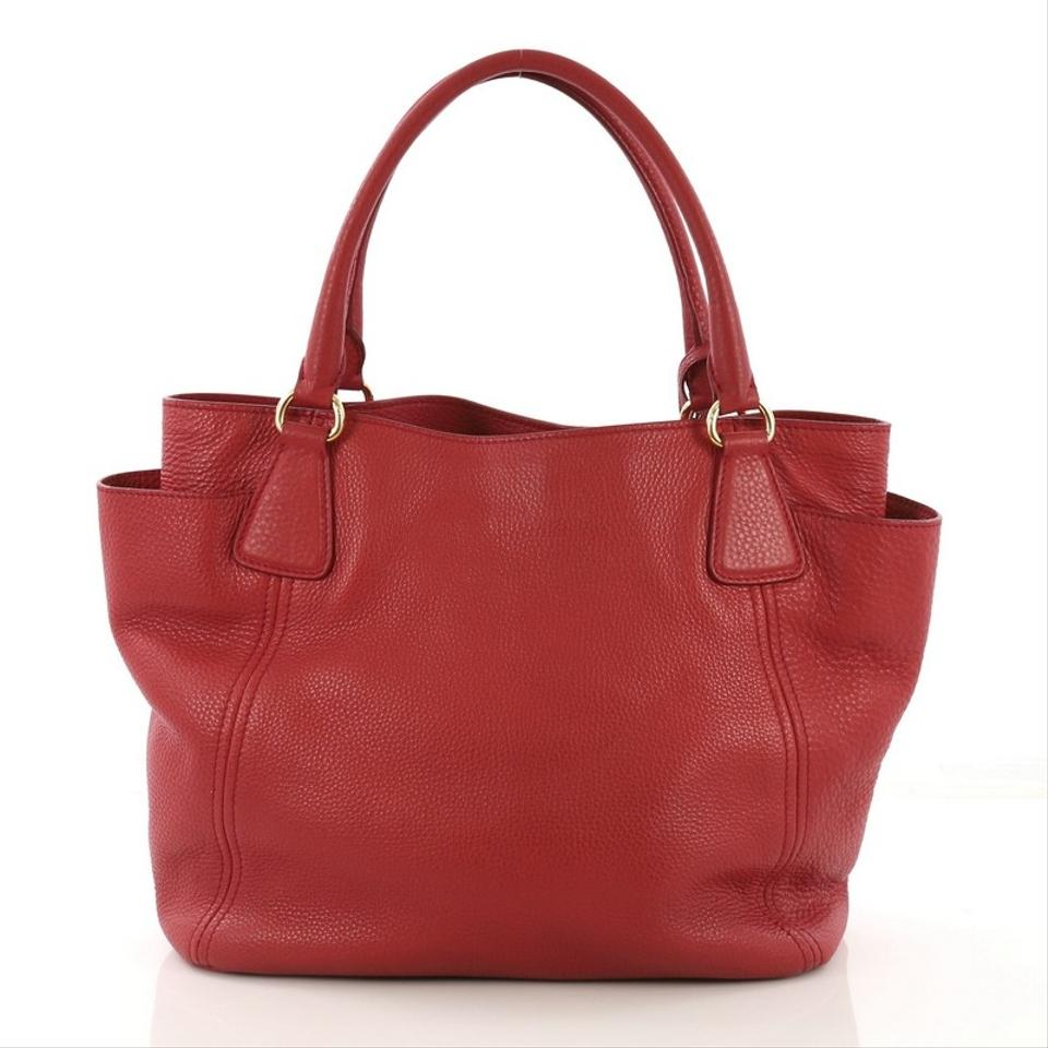 d9456d8375ddd4 Prada Vitello Daino Pocket Convertible Large Red Leather Tote - Tradesy