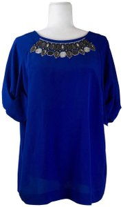 Etro Silk Short Sleeve Embroidered Top Blue