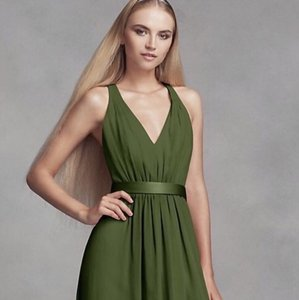 30141f20021 White by Vera Wang Vw Olive Chiffon Long Low Crisscross Back Formal  Bridesmaid Mob Dress