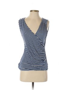 Banana Republic Linen Knit Striped Ruched Top Navy Blue/White