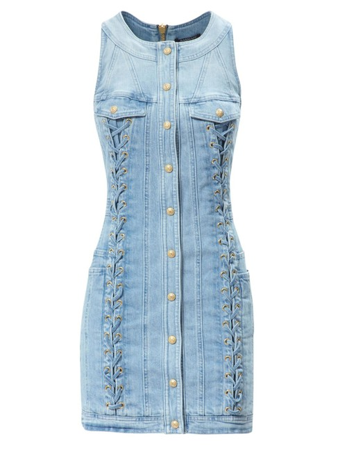Item - New Runway Sexy Lace Up Denim Mini Fr 38 Us Sold Out Short Casual Dress Size 6 (S)