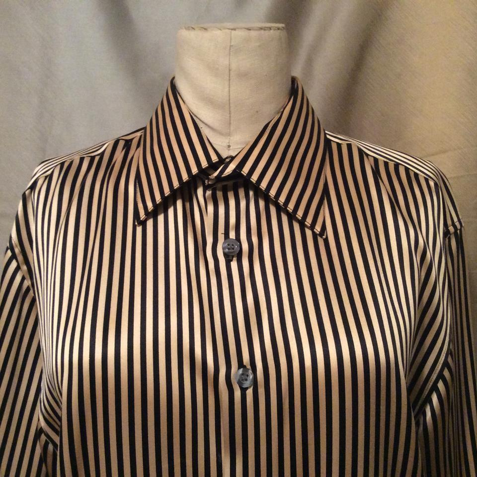 6ce16466db4 Black and Gold Stripe Sz. Med. & Silk Charmuse / Tunic Blouse Size 10 (M) -  Tradesy