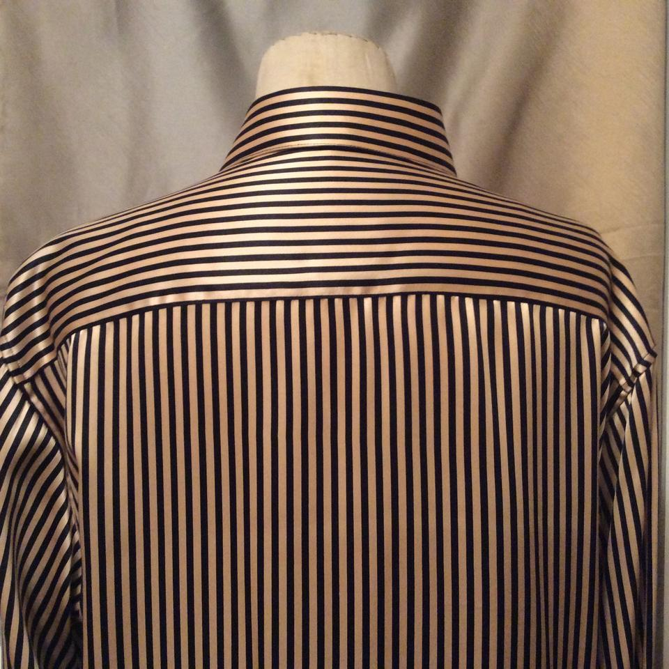 f5d9f2af4c6 Black and Gold Stripe Sz. Med. & Silk Charmuse / Tunic Blouse Size ...