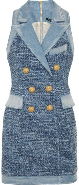 Item - New Runway Sexy Tweed & Denim Mini Fr 36 Us Sold Out Short Casual Dress Size 4 (S)