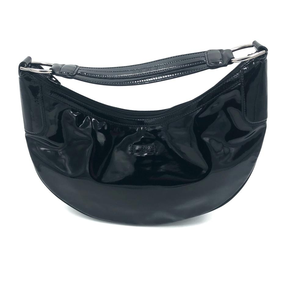 bd42f5e98a43e Gucci Patent Leather Half Moon Bag. Black Hobo Bag