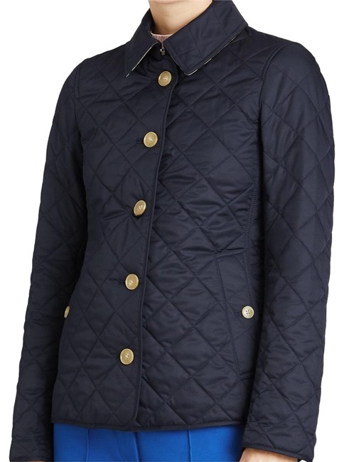 Item - Navy Diamond Quilted Button-front Jacket Size 2 (XS)