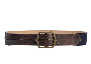 8daeb7c0f62 Paul Smith Paul Smith Brown Leather Navy Canvas Double Prong Belt Size L  D1104