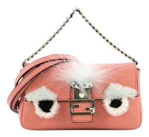 Fendi Leather And Fur Micro Baguette