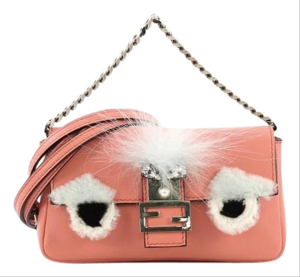 a2095e6a4b3b Fendi Monster and Fur Micro Pink Leather Baguette - Tradesy