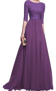 Purple Embroidery Tule and Polyester. Maxi Formal Bridesmaid/Mob Dress Size 10 (M)