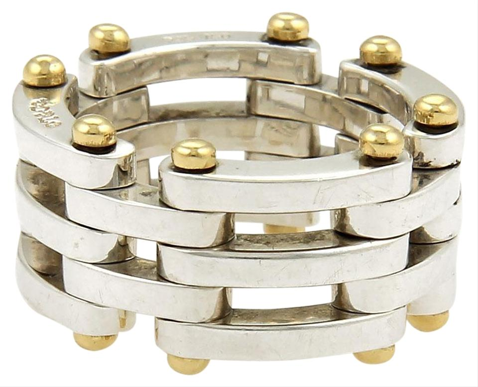 2299bbeb0 Tiffany & Co. Gatelink Sterling 18k Yellow Gold Flex Band Ring Image 0 ...