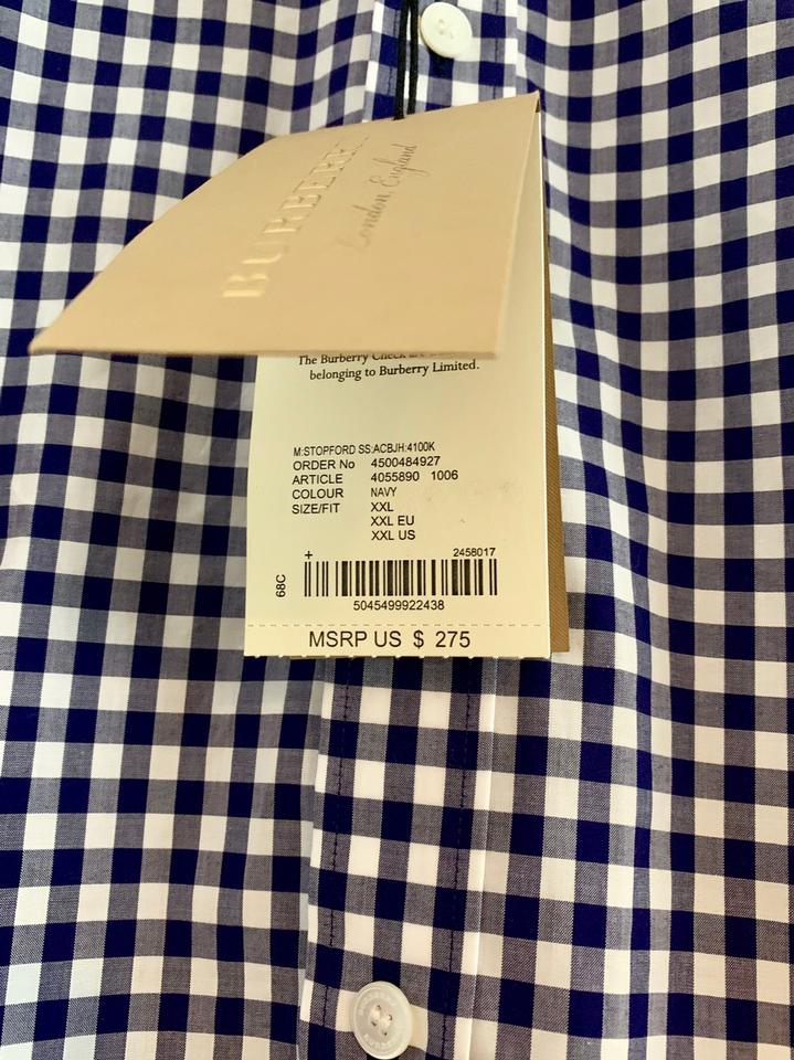 2cc0ee3e Burberry Navy Men's Gingham Shirt Button-down Top Size OS (one size ...